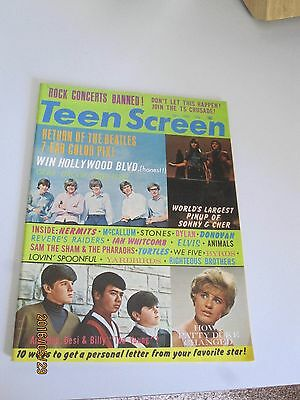 Dec 1965 Teen Screen Magazine Sonny & Cher 2 Page Color Photo News Stand Issue