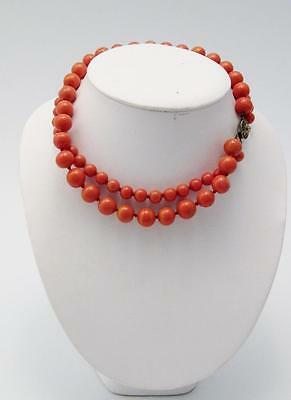 Antique Double Strand Coral Beaded Choker Necklace w/ Open Work Sterling Clasp