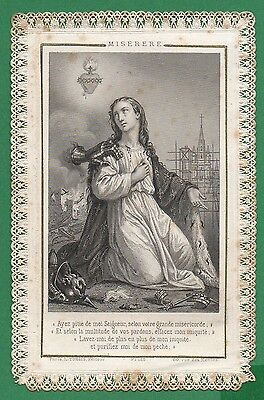 MERCY - SACRED HEART & REPRESENTATION OF FRANCE Antiq 19th LACE HOLY CARD