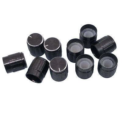 10pcs Aluminum Hi-Fi CD Volume Tone Control Potentiometer Knob 6mm Black