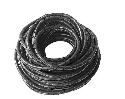 14M Meter 45.93 Feet Roll 6mm Spiral Wrapping Band Cable Management Black ROHS