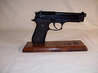 Dark Stained Handmade Wood Pistol  Display Stand Fits MOST Full Size SA Pistols