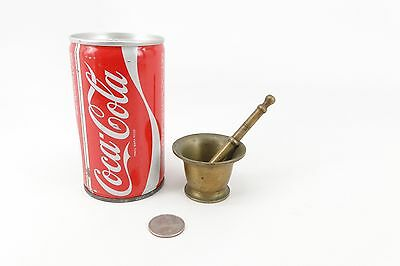 Antique 1800'S Miniature Brass Mortar and Pestle Medicines 1.5 inch TALL