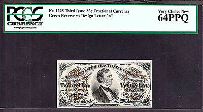 US 25c Fractional Currency 'a' FR 1295 PCGS 64 PPQ Ch CU
