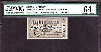 Daily 1893 Columbian Exposition Ticket PMG 64 Ch CU (-344)