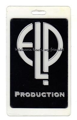 ELP EMERSON LAKE & PALMER Welcome Back Tour LAMINATED BACKSTAGE PASS Production