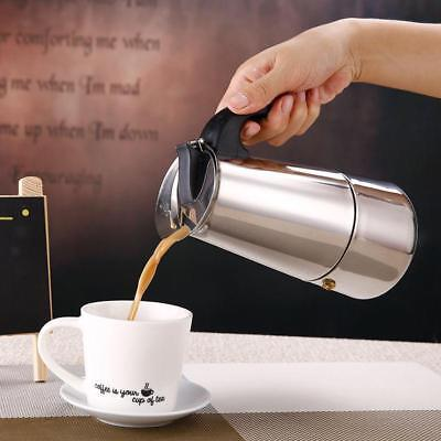 2/ 4/ 6/ 9 CUP ESPRESSO MAKER Coffee Stainless Steel Latte Percolator Stove Top