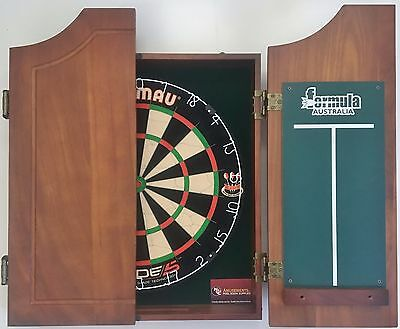 Winmau Blade 5 FIVE Dart Board & Walnut Timber Wooden Cabinet + 6 x Darts SET