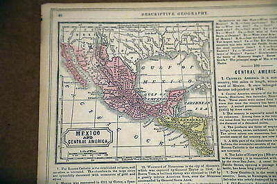 1862 Mitchell Antique Atlas Map-Mexico-Handcolored-Beautiful Detail