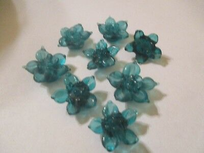 8 Transparent Teal 18mm  Flower  Lampwork Glass Beads HOT COLOR     A121