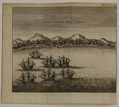 Jakarta Indonesia 1725 Renneville Unusual Antique Copper Engraved City View