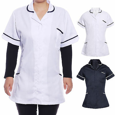 Womens Nurses Health Carer Tunic Uniform Hospitality Maid House Top