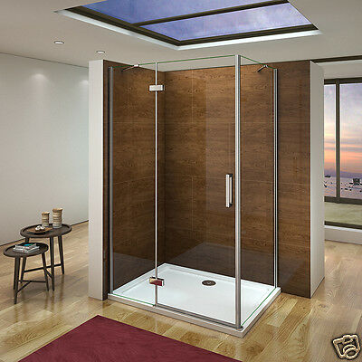 Aica Walk in Hinge Shower Door Enclosure and Tray 1950 NANO Glass Screen Cubicle
