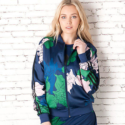 Womens adidas Originals Womens Floral Engraving Supergirl Track Top in Blue - 12
