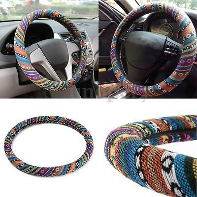 Universal Car Natural Fiber Steering Wheel Cover Wrap Colorful Non-slip Stripes