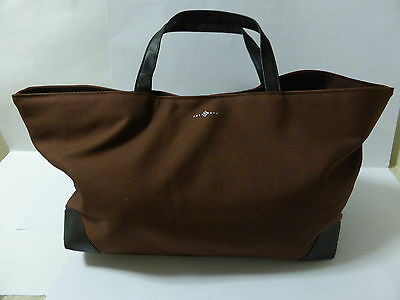 Swarovski Silver Crystal Brown Canvas Tote With Crystals Bag New
