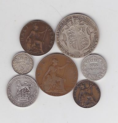 1909 Edward Vii Part Set Of Seven Coins In Used Fine Or Better Condition
