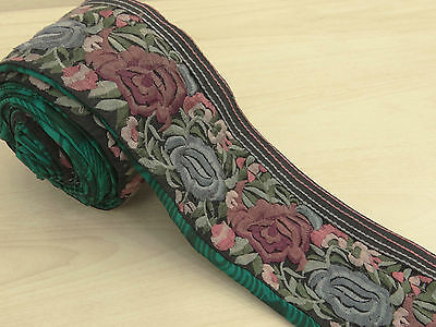 Vintage Indian Sari Border Embroidered Trim Sewing Green 1YD Used Ribbon Lace