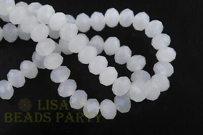 500pcs 3x2mm Faceted Rondelle Crystal Glass Loose Spacer Bead Jade White Finding