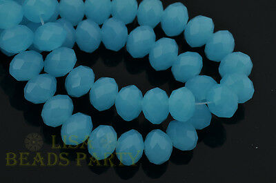 30pcs 10x7mm Rondelle Faceted Loose Crystal Glass Beads Findings Jade Lake Blue