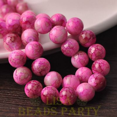 Hot 10pcs 12mm Round Glass With Color Coated Loose Spacer Beads Red&Brown