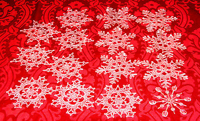 "15pc BIG 5"" Plastic Realistic ""Crystallized"" Snowflake Ornament Winter Decor Lot"