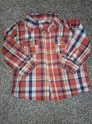 baby boys red check shirt 6-9 months