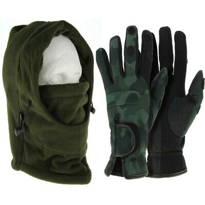 NGT Neoprene Fishing Camo Gloves M L XL + Camo Shooting Hunting Snood Face Guard