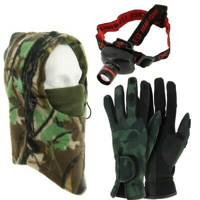 NGT Neoprene Fishing Camo Gloves M L XL + Shooting Hunting Snood + Cree Light