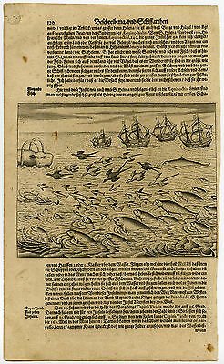 Antique Print-ASCENSION ISLAND-WHALE-FLYING FISH-De Bry-1601