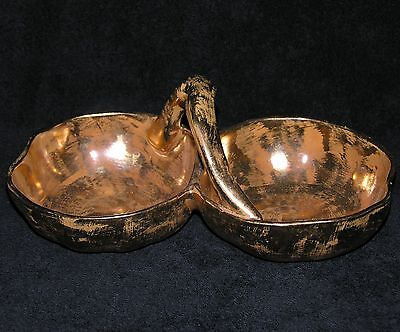 Vintage Stangl Pottery Granada Gold Divided Snack Dish