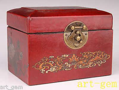 Red Leather Flower Adornment Antique Jewelry Make-Up Box Wood