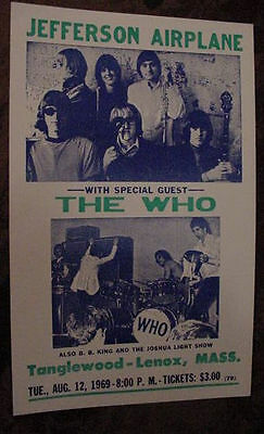 VINTAGE JEFFERSON AIRPLANE THE WHO BB King Joshua Light Show 60s  CONCERT POSTER