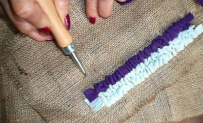 *Rug Hook Kit*1x RUG HOOK TOOL,CUTTING GAUGE, HESSIAN & Instructions-Make Rugs