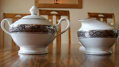 Castleton Studio China Evening Reflections Creamer and Sugar Platinum Trim