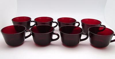 "8 Anchor Hocking Royal Ruby Red Glass Flat  Coffee Tea Cups No Saucers 2 12""l"