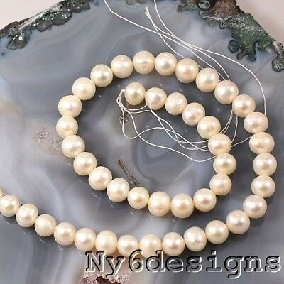 "Ny6design 9x6 White Freshwater Potato Pearl Beads 15"" (PE208)b"