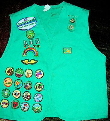 Junior Girl Scout Vest With Pins, Badges & Patches