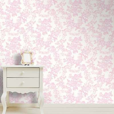 Crown Vintage Lace Damask Marshmallow Pink Floral Feature Wallpaper M0756