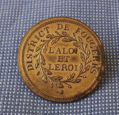 Rare French Revolution Uniform  Button 1790  National Guard Of Fougeres