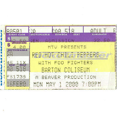 RED HOT CHILI PEPPERS & FOO FIGHTERS Concert Ticket Stub 5/1/00 LITTLE ROCK AR
