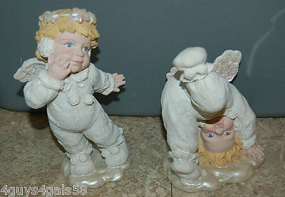 """Angel Figurines LOT OF TWO Upright Headstand SPARKLE WINGS 6.25 & 7.25"""" Tall"""