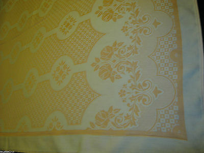 Elegant DOUBLE DAMASK Peach TABLECLOTH 50X37in 5-Petal Flowers & Roses Very Nice