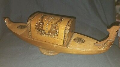 Vintage Marquetry Venitian Gondola Musical Cigarette Box. Wooden. Treen.