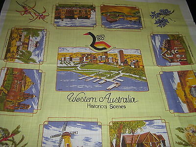 NWOT Souvenir HISTORIAL SCENES of 150yr anniversary WESTERN AUSTRALIA TABLECLOTH