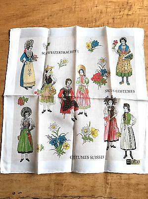 LOVELY ALBA VTG COTTON SWITZERLAND SUISSES SWISS COSTUME HANKIE-MINT w TAG