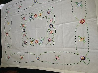 "Unused HAND EMBROIDERED TABLECLOTH Handmade FLORAL 62x46"" OPENWORKED HEM Mitered"