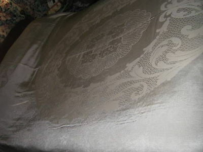 VERY LARGE Elegant BEIGE Double Damask  TABLECLOTH Fronds Motif 92x81in CUTTER