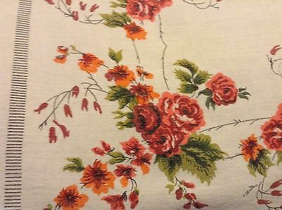 Vintage FLORAL ROSES Cotton TABLECLOTH 62x51 in