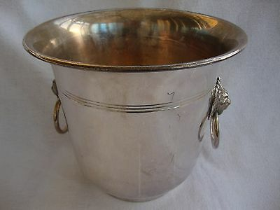 A Large Retro Ice Bucket Cooler Champagne Bucket Lion Head Handles